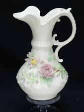 VINTAGE BELLEEK 60's GREEN MARK ABERDEEN FLORAL FLOWER PITCHER EWER w/ HANDLE