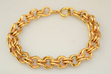 "VINTAGE 18K YELLOW GOLD TEXTURED DOUBLE LINK CHARM BRACELET 7.75"" 13.1 GRAMS"