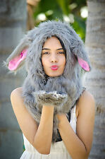 RABBIT FAUX FUR  ANIMAL HAT WITH LONG PAWS