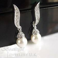 Stunning Off-White Ivory Drop Pearl Silver Plated Dangle Earrings Bridal SE02
