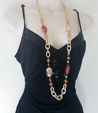 "Stunning 38"" long Gold tone & brown tone chunky link chain & bead necklace"