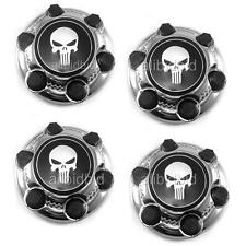"SET OF 4  CHEVY GMC 6 Lug 16""  17"" Skull Badge Wheel Center Hub Caps Nut Covers"
