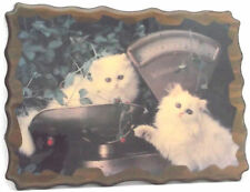 Vintage 1960-1970s Art Deco White/Long Haired 2 Kittens (Cats) in Scale Plaque