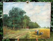 """""""Frauen b.d.Getreideernte""""-Signiert u.datiert-1935Öl/Lwnd.-aufgezogen 72x95 cm"""
