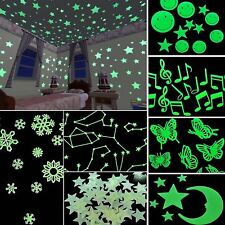 200X Glow In The Dark 3D Stars Moon Stickers Bedroom Home Wall Room Decor DIY