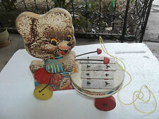 RARE fisher price SHAGGY ZILO PULL TOY 738 1962 MUSICAL XYLOPHONE BEAR works
