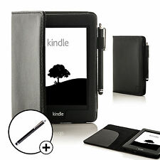 Piel Negro Funda Smart para Amazon Kindle Paperwhite 2015 + Lápiz óptico