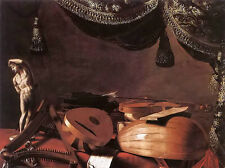 Oil evaristo baschenis - still life musical instruments and a small classical