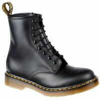 Dr Martens 1460z classic 8 Eyelet Boots Black with Yellow stitch unisex 3 to11
