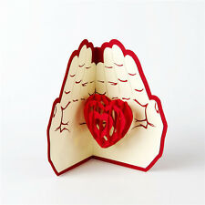 3D Pop Up Greeting Card The Heart In Hand Birthday  Anniversary Valentine Day
