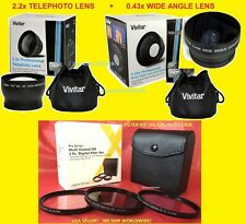 0.43x WIDE ANGLE+ 2.2x TELEPHOTO LENS 67mm+ FILTER KIT CPL UV FL-D VIVITAR 67 mm