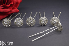 Large Round Silver Strass Hairpin Bridal Hairstyle Hair Accessories Veil Henna
