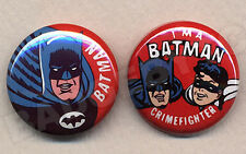 BATMAN crime fighter pair of Badges Button Pins -RETRO!