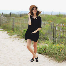 134340 Free People Candy Cutwork Pocket Embroidered Black Cotton Tunic Dress XS