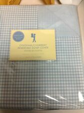Pottery Barn PB Kids Gingham Chambray Bed Bedroom Duvet Cover Full Queen F/Q