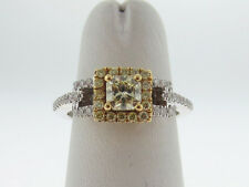 Genuine White/Canary Diamonds Band Solid 18K Two-Tone Gold Ring FREE Sizing