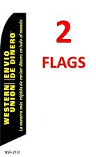 2 (two) WESTERN UNION ENVIVIO DE DINERO 11.5' SWOOPER #3 FEATHER FLAGS BANNERS
