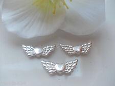 50 Engelsflügel Flügel hell silber 22 x 7mm Metallperle Spacer Perlen
