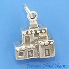 PUEBLO NATIVE AMERICAN ADOBE HOUSE HOME 3D .925 Sterling Silver Charm