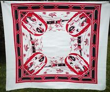 Vtg Southwest Mexican Fiesta Tablecloth Sturdy Cotton Black Red 54 x 48 Square