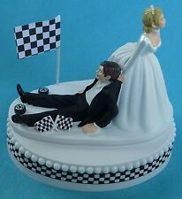 Wedding Cake Topper Checkered Flag Car Racing Sports Fan Themed Groom's Top Fun
