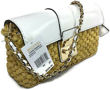 Michael Kors Clutch Gabriella Straw Large Handbag Purse with White Leather NWT