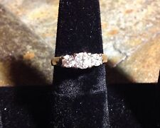 14K YG ANNIVERSARY ENGAGEMENT RING 3 ROUND DIAMONDS 1 CTW PAST PRESENT FUTURE