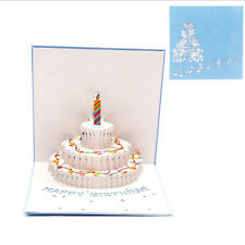 3D Pop Up Cake Greeting Card Birthday Christmas Wedding Valentine Day Invitation