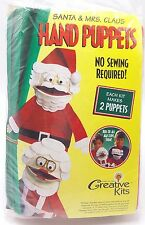 Kids Christmas Craft Kit Santa and Mrs Claus Puppets Easy No Sewing New
