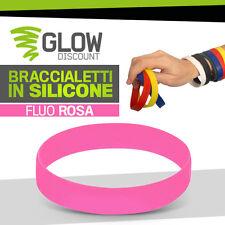 10* BRACCIALETTI SILICONE ROSA FLUO bracciali colorati livestrong gomma 926012