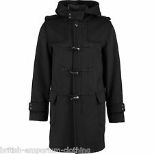 JOHN RICHMOND Black Woven ALPACA Wool DUFFLE Coat BNWT UK38 IT48 Made In Italy