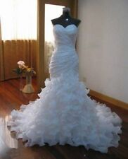 White/Ivory Ruffled Organza Mermaid Bride Wedding Dress Bridal Gown Custom Size