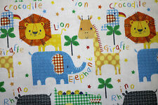 Fabric Jungle Animals Lion Rhino Giraffe FQ Quilting Craft Cotton Baby Material
