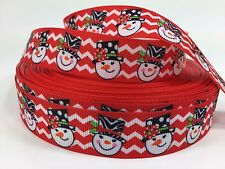 "BTY 7/8"" Red Snowman Chevron Christmas Grosgrain Ribbon Hair Bow Lisa"