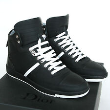 DIOR HOMME matte black leather hi-tops white stripe sneakers shoes 40-I/7-US NEW