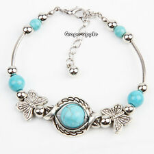 GPE Fahion plata verde turquesa inlay Butterfly Bead Bangle pulsera para mujeres
