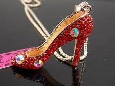 Betsey Johnson  crystal red high heels Pendant Necklace #A239