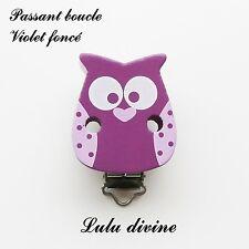 Pince / Clip en bois, attache tétine, passant boucle, Hibou/ Chouette : Violet f