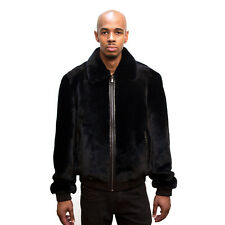 WINTER BLACK SHEARED SHEARLING MOUTON REAL FUR COAT JACKET LEATHER TRIMMING, 3XL