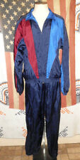Vtg 90s Vengo Nylon Windbreaker Track Jacket Pants Jogging Suit XLT blue retro