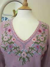 MONSOON LILAC EMBROIDERED LAMBSWOOL JUMPER 10 12 VINTAGE BEADS