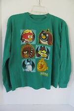 Boy's Green Star Wars Angry Birds Blue Long Sleeves T-Shirt Size L