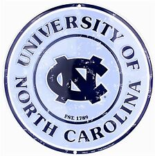 "University of North Carolina Tarheels Embossed Metal 12"" Circle Sign"