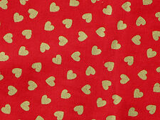 "8"" REMNANT  VALENTINE  LOVE  GOLD METALLIC HEARTS ALLOVER  100% COTTON FABRIC"