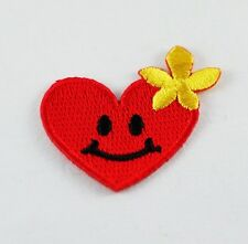 TINY SMILE RED HEART W/ YELLOW FLOWER IRON/SEW ON PATCH EMBROIDERED APPLIQUE HAT