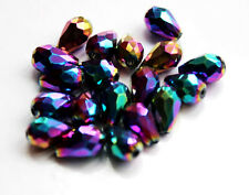 20pcs 8x12mm Faceted Cut Glass Crystal Loose Spacer Teardrop Beads MultiColored