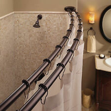 Double Curved Shower Curtain Rod Adjustable Crescent Fixture, Oil Rubbed Br