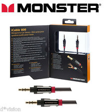 Monster® Aux Cable 3.5mm Stereo mini Jack Male to Male Audio Lead 24K Gold 3ft