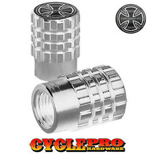 2 Silver Billet Knurled Tire Valve Cap Motorcycle - IRON CROSS - 018