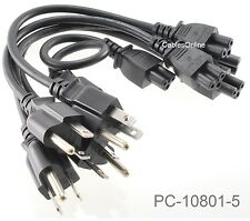 5-PACK 1ft Replacement 3-Pin Laptop/Notebook AC Power Cords / Cables